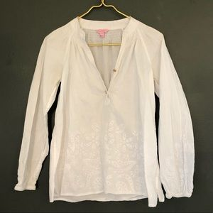 [Lilly Pulitzer] White Embroider Blouse - Size XS